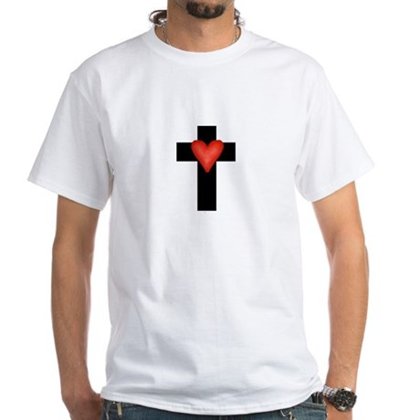 Cross with Heart White T-Shirt