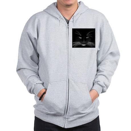 Black Cat Face Zip Hoodie