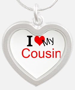 I love my Cousin Silver Heart Necklace