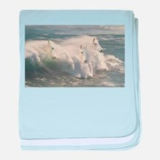 White Horses And Waves baby blanket