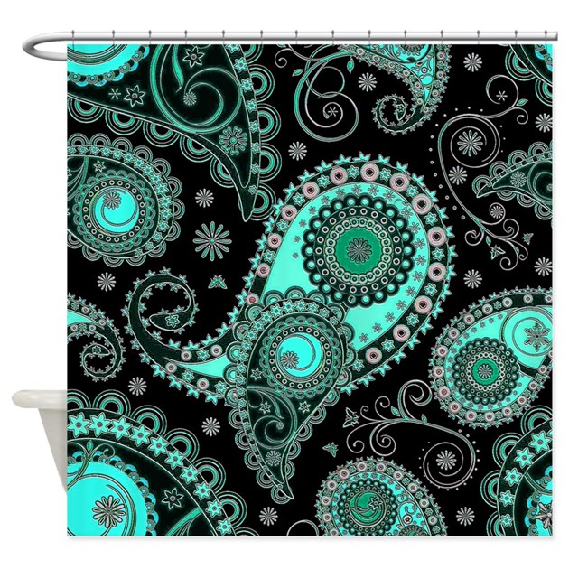 Aqua And Pink Paisley Shower Curtain By Ibeleiveimages