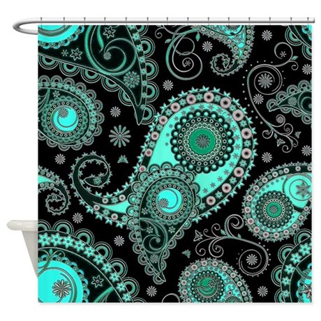 Aqua And Pink Paisley Shower Curtain