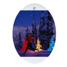 Cute Running christmas Ornament (Oval)