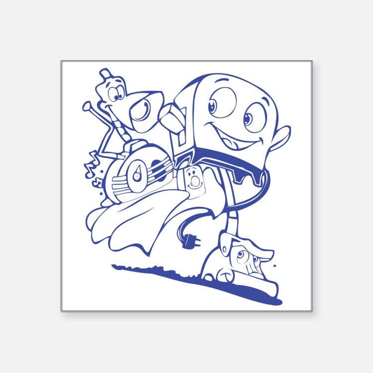 """The Brave Little Toaster (Blue) Square Sticker 3"""""""