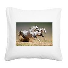 White horses Square Canvas Pillow
