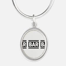 BAR BAR BAR Silver Oval Necklace