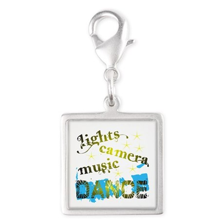 Lights Camera Music Dance Silver Square Charm