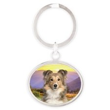meadow.png Oval Keychain