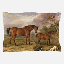 Vintage Painting of Horses on the Farm Pillow Case