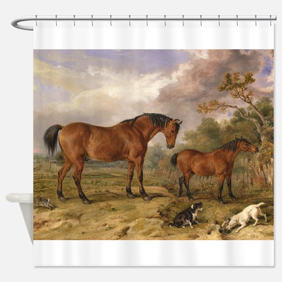 Vintage Painting of Horses on the Farm Shower Curt