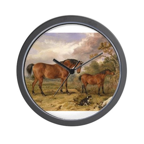Vintage Painting of Horses on the Farm Wall Clock
