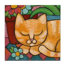 """Sleepy Marmalade""  Tile Coaster"