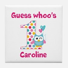 Custom guess whos 1 girl Tile Coaster