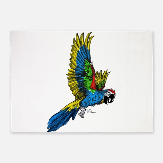 Flying Macaw Parrot 5'x7'Area Rug