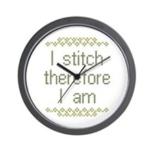 I Stitch Therefore I Am Wall Clock