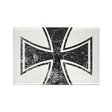 Biker Cross - Distressed Rectangle Magnet