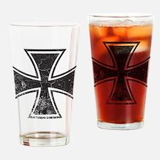 Biker Cross - Distressed Drinking Glass