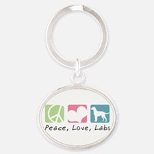 peacedogs.png Oval Keychain