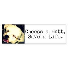 """""""Choose a Mutt, Save a Life"""" Bumper Stic"""