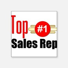 "Top Sales Rep Square Sticker 3"" x 3"""