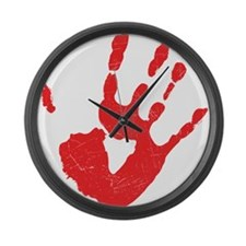 Bloody Hand Print Large Wall Clock