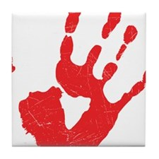 Bloody Hand Print Tile Coaster