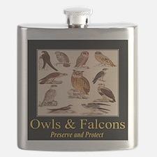 Owls Falcons Flask