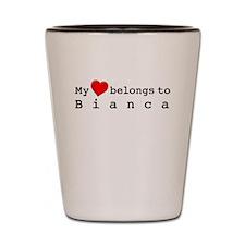 My Heart Belongs To Bianca Shot Glass