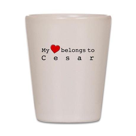 My Heart Belongs To Cesar Shot Glass