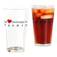 My Heart Belongs To Jazmin Drinking Glass