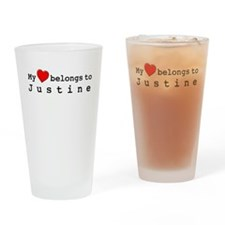 My Heart Belongs To Justine Drinking Glass