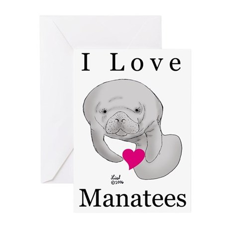 I Love Manatees Greeting Cards (Pk of 10)