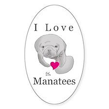 I Love Manatees Oval Decal