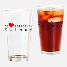 My Heart Belongs To Kelsey Drinking Glass