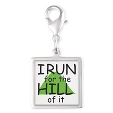 Funny Hill Running Silver Square Charm