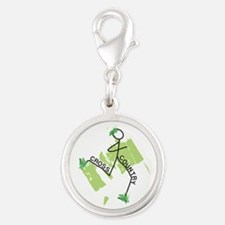 Cute Cross Country Runner Silver Round Charm