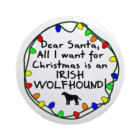 Dear Santa Irish Wolfhound Christmas Ornament