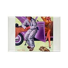 1946 Girl Mechanic and Dog Pin Up Rectangle Magnet