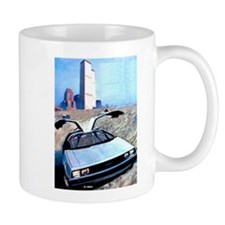 Delorean DMC 12 Gull Wings Up Twin Towers WTC Mug