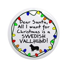 Dear Santa Swedish Vallhund Christmas Ornament