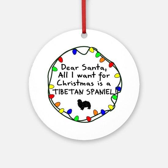 Dear Santa Tibetan Spaniel Christmas Ornament