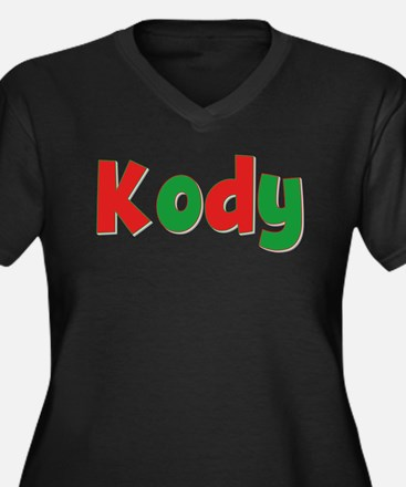 Kody Christmas Women's Plus Size V-Neck Dark T-Shi