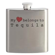 My Heart Belongs To Tequila Flask