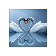 "Swan Heart Square Sticker 3"" x 3"""