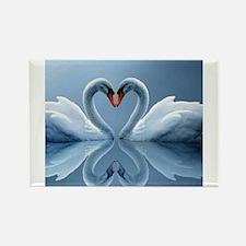 Swan Heart Rectangle Magnet