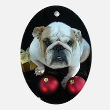 Norma the English Bulldog's Tree Oval Ornament