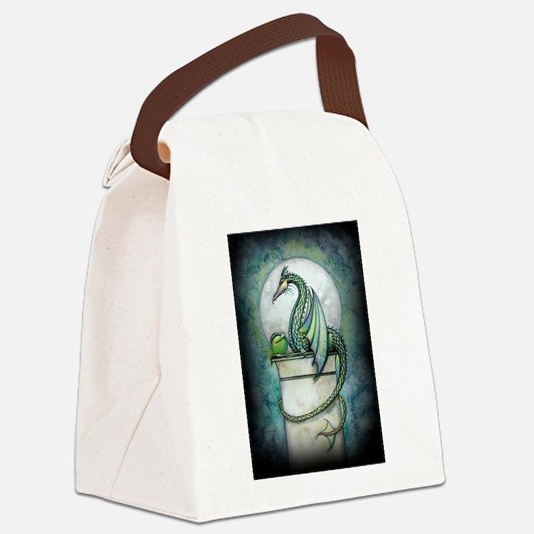 Green Dragon Fantasy Art Canvas Lunch Bag