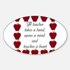 A teacher takes a hand Sticker (Oval)