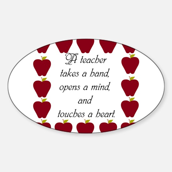 A teacher takes a hand Sticker (Oval)
