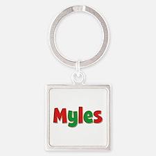 Myles Christmas Square Keychain
